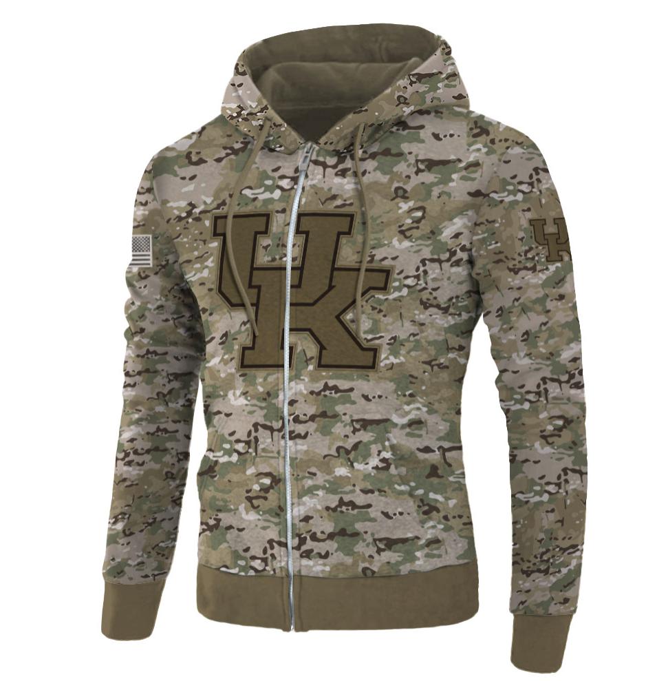 Army camo Kentucky Wildcats all over printed 3D zip hoodie