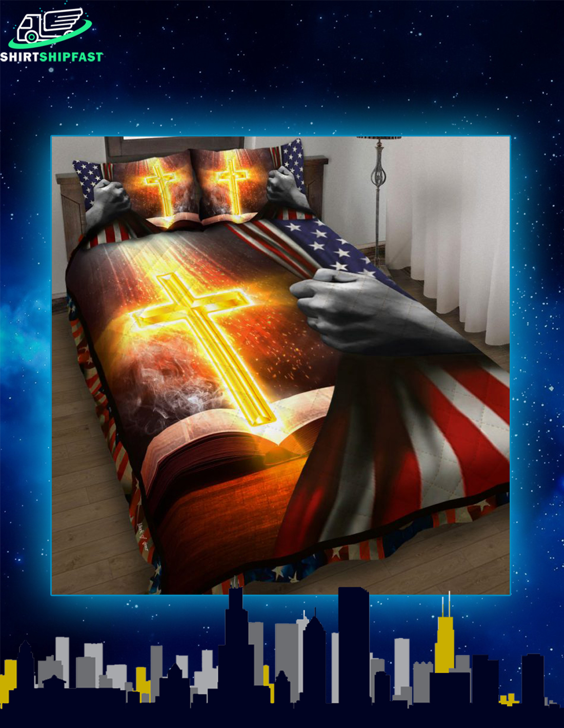 Bible with bright cross bed set