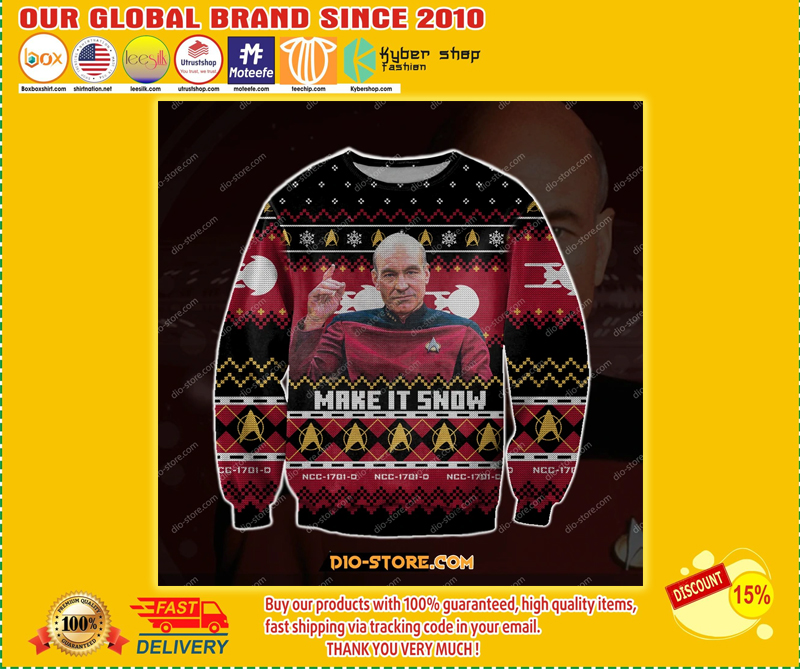 CAPTAIN PICARD STAR TREK MAKE IT SNOW UGLY CHRISTMAS SWEATER - LIMITED EDITION BBS