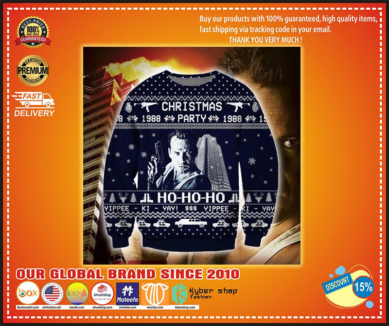 CHRISTMAS PARTY HO-HO-HO DIE HARD UGLY CHRISTMAS SWEATER - LIMITED EDITION BBS