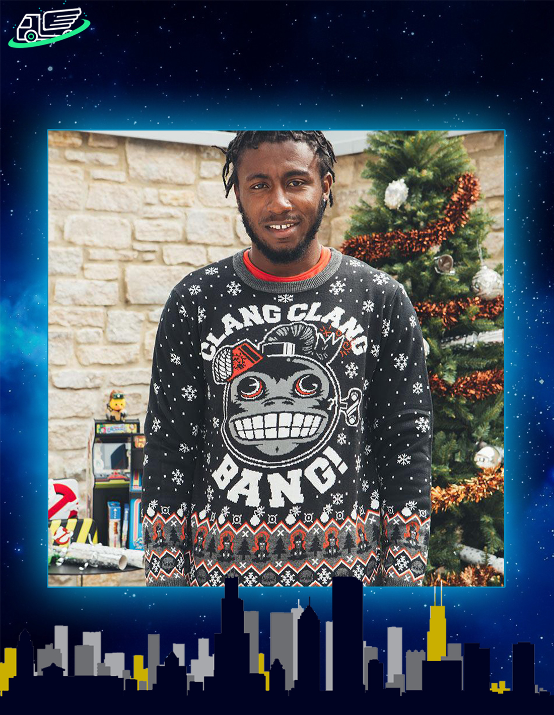 Call of duty monkey bomb clang clang bang ugly christmas sweater and jumper