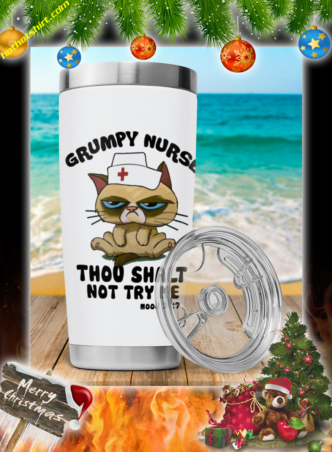 Cat Grumpy nurse thou shalt not try me tumbler 1