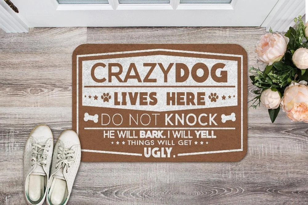 Crazy dogs live here do not knock doormat - LIMITED EDITION