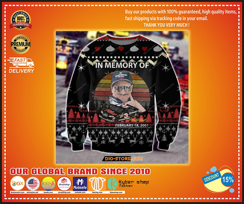 DALE EARNHARDT IN MEMORY OF 3 FEBRUARY 18 2001 UGLY CHRISTMAS SWEATER - LIMITED EDITION BBS
