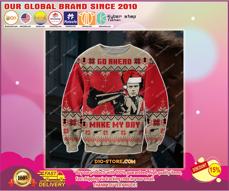 DIRTY HARRY GO AHEAD MAKE MY DAY UGLY CHRISTMAS SWEATER - LIMITED EDITION BBS