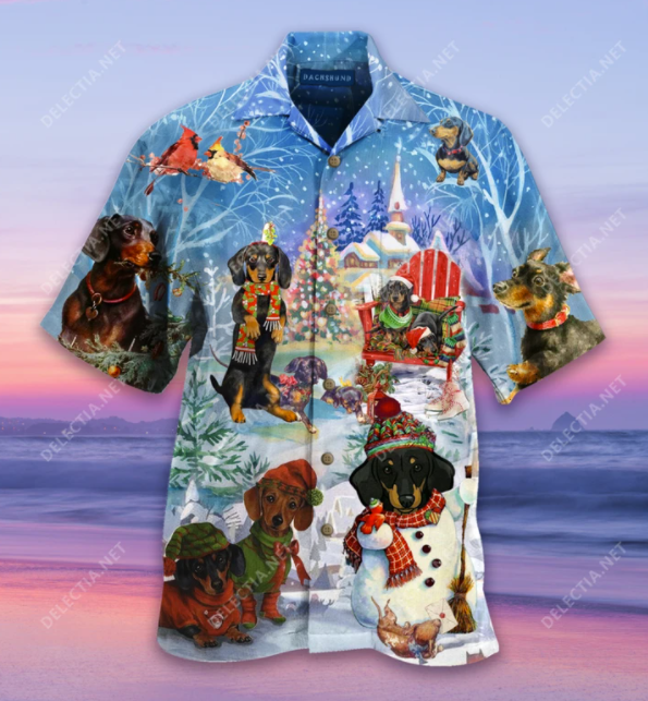 Dachshund Merry Christmas hawaiian shirt - dnstyles