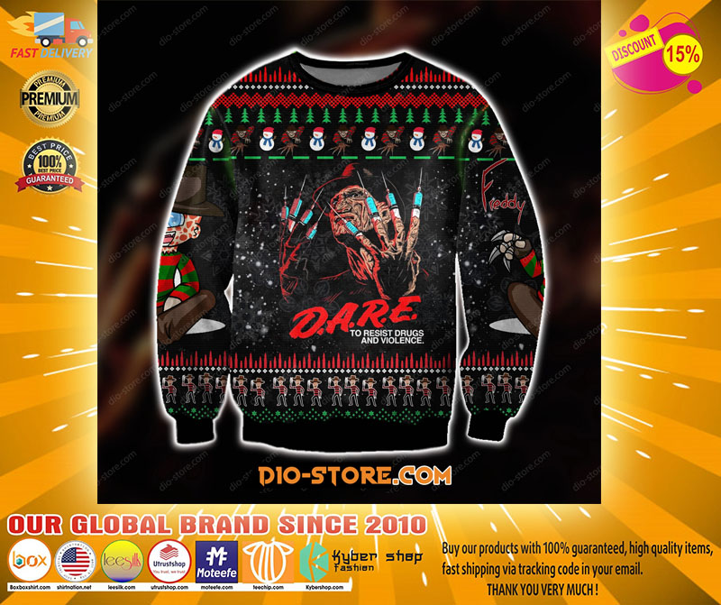FREDDY KRUEGER KNITTING PATTERN UGLY SWEATER - LIMITED EDITION