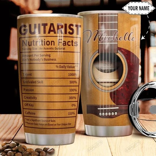Guitarist nutrition facts custom personalized name tumbler