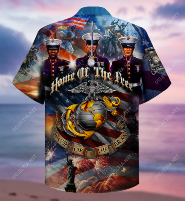 Home of the free because of the brave USMC hawaiian shirt - dnstyles