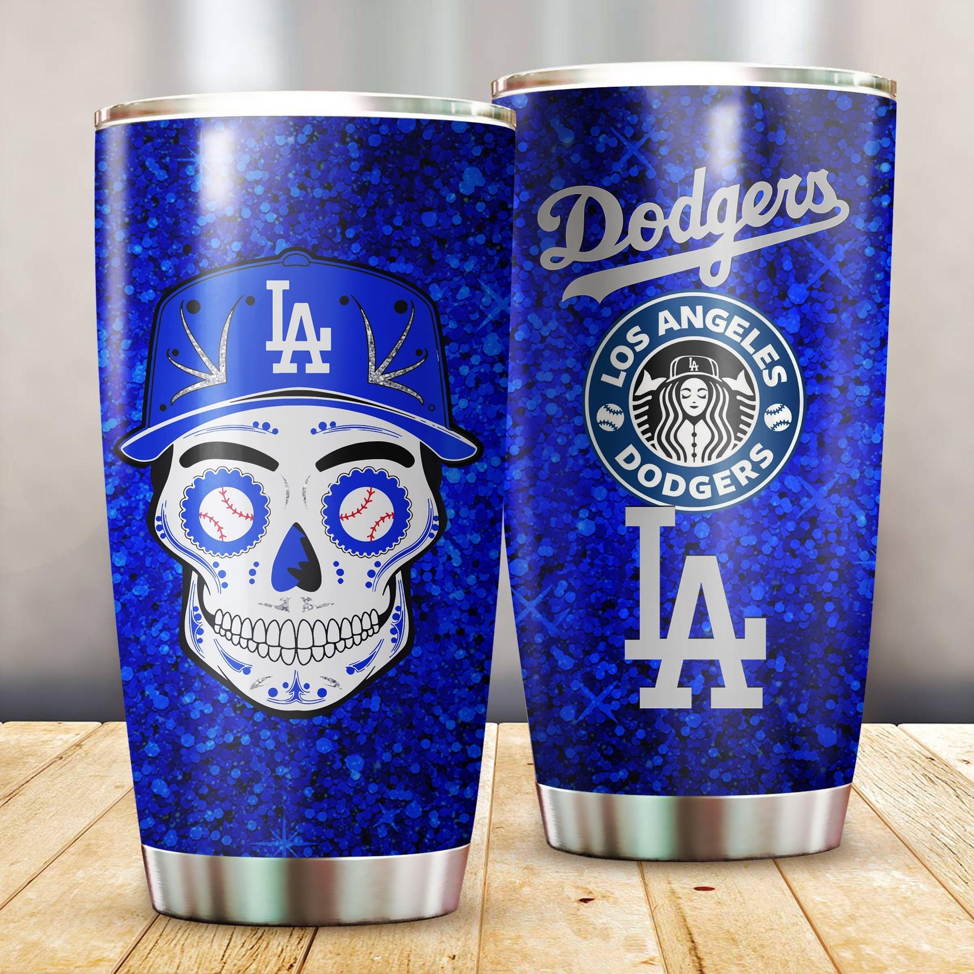 LA Dodgers sugar skull tumbler