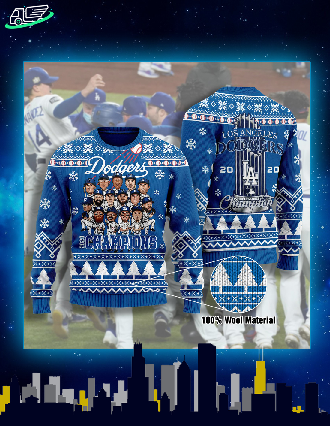 LA dodgers 2020 champions ugly christmas sweater