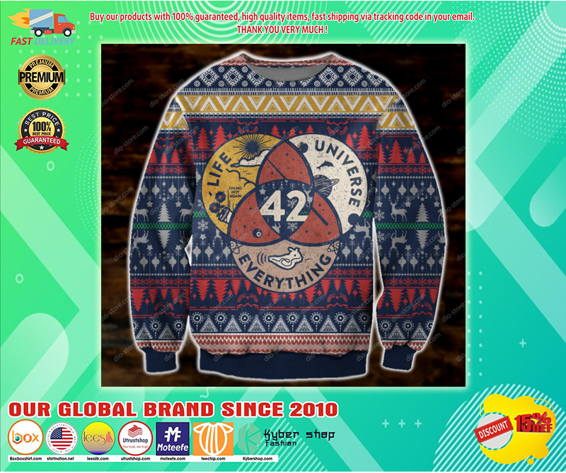 LIFE THE UNIVERSE AND EVERYTHING 42 UGLY CHRISTMAS SWEATER - LIMITED EDITION BBS