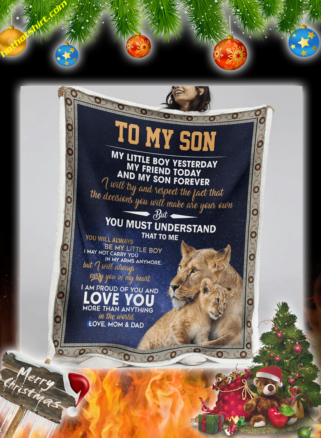 Lion To my son love mom and dad quilt 1