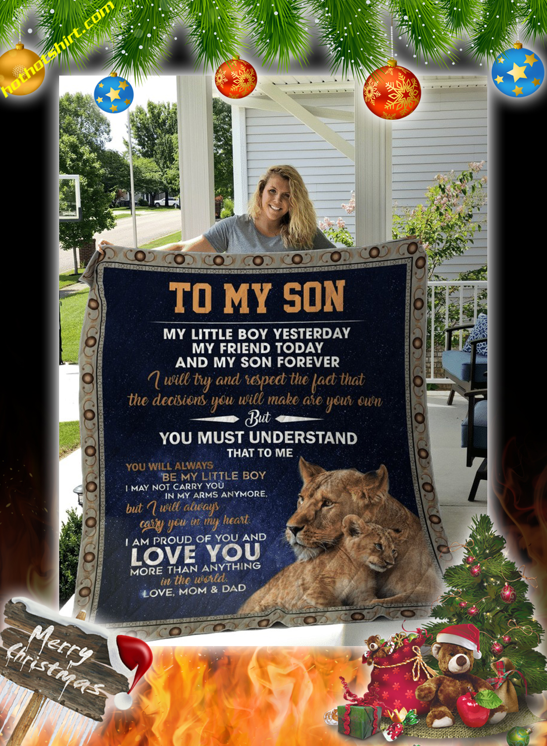 Lion To my son love mom and dad quilt