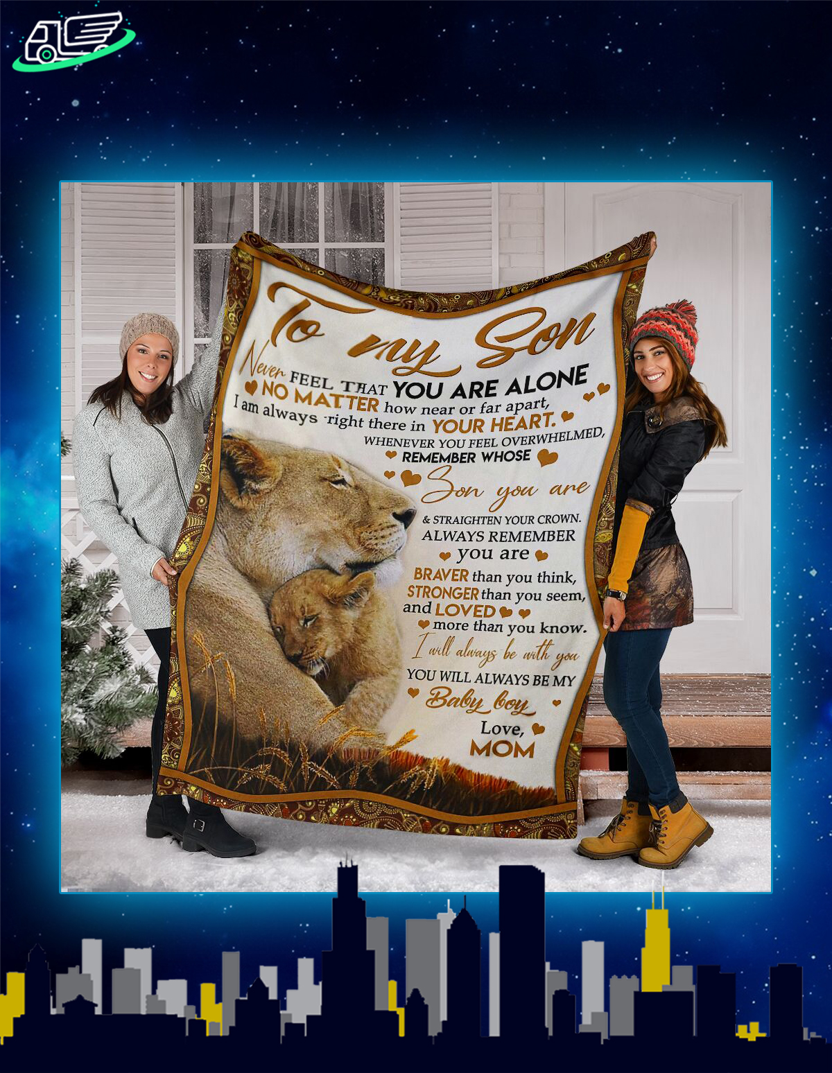 Lion to my son never feel that you are alone blanket
