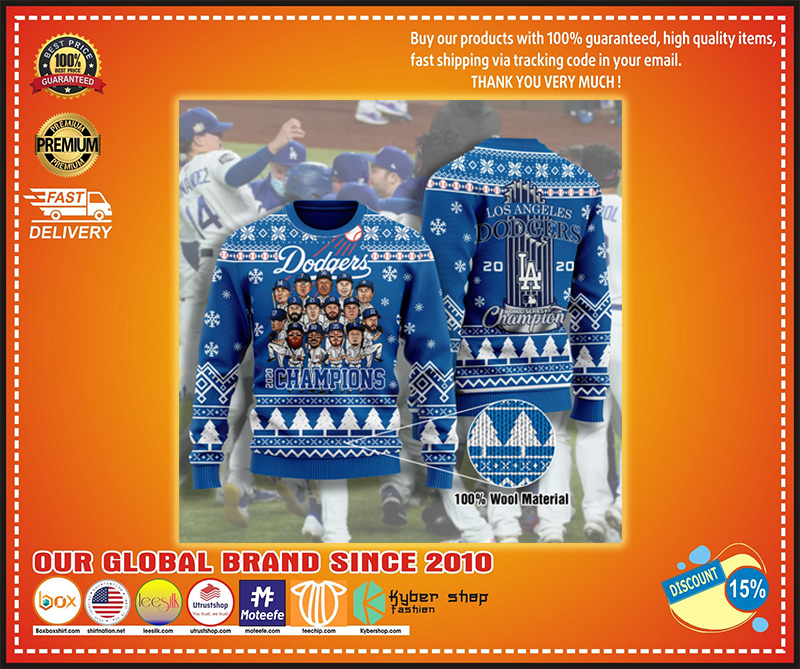 Los Angeles dodgers 2020 champions ugly christmas sweater - LIMITED EDITION BBS