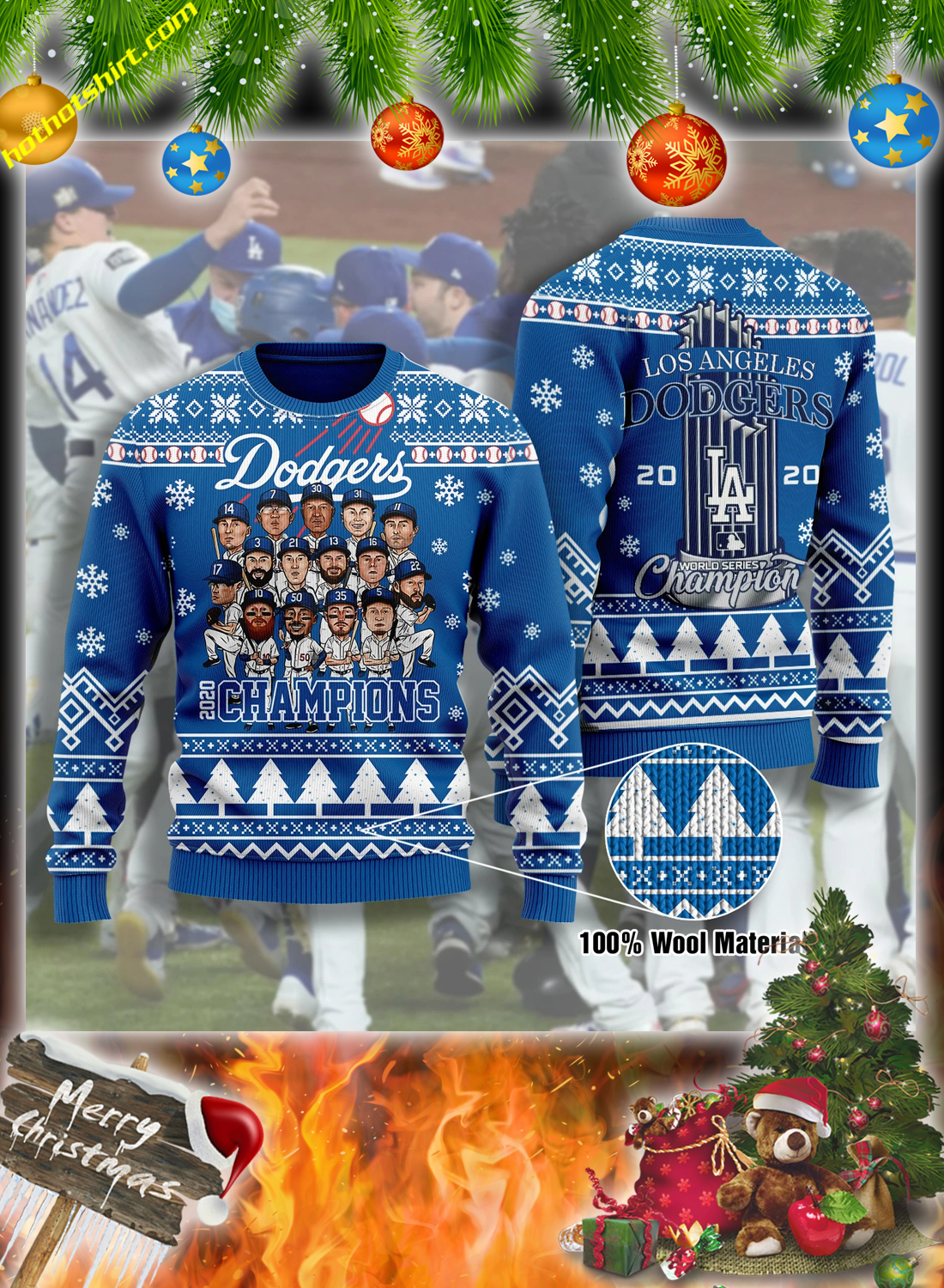 Los angeles dodgers champions 3d christmas sweatshirt