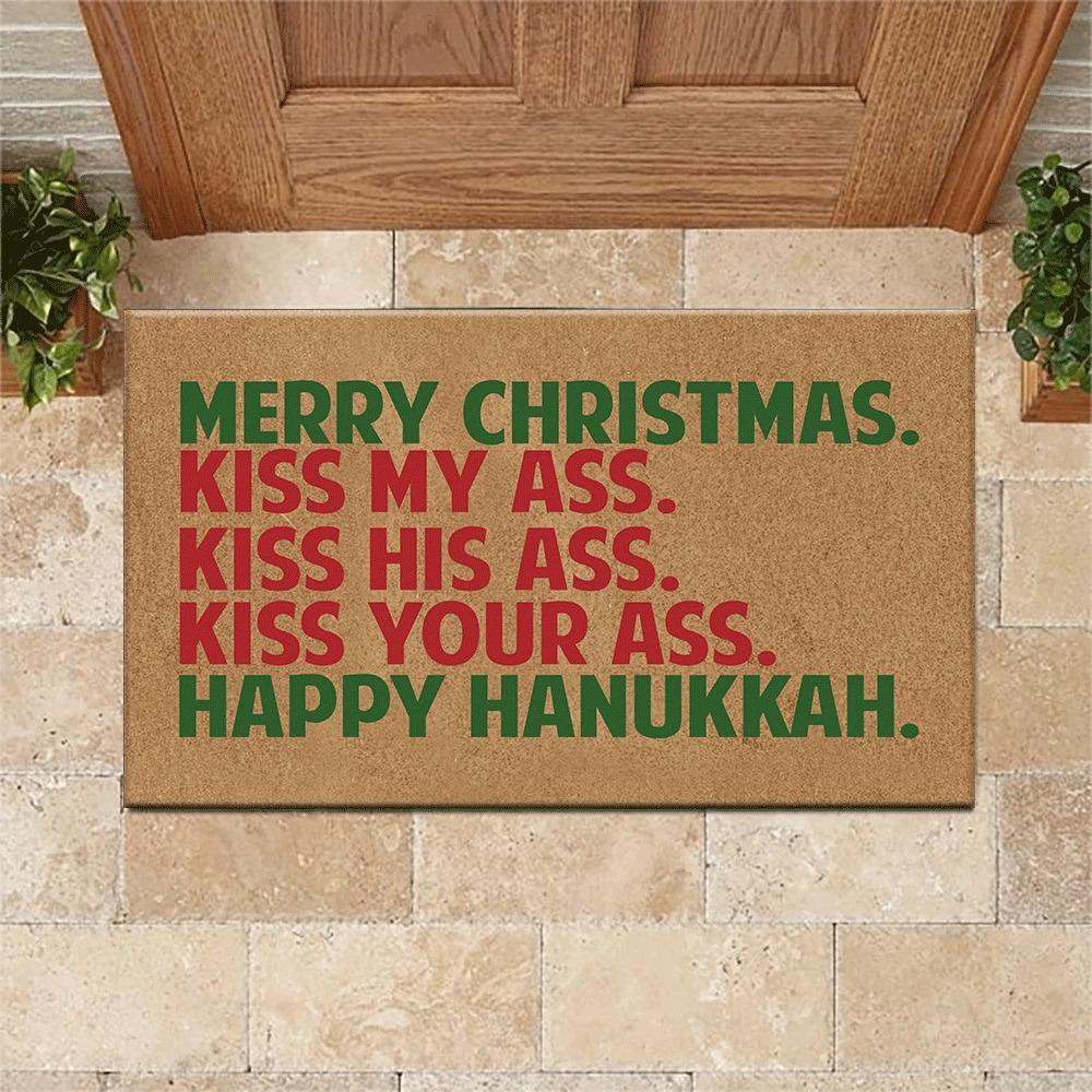 Merry christmas happy hanukkah doormat