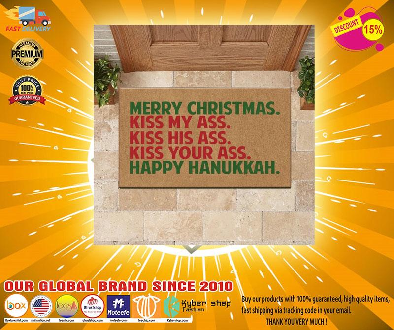 Merry christmas kiss my ass kiss his ass kiss your ass happy hanukkah doormat - LIMITED EDITION