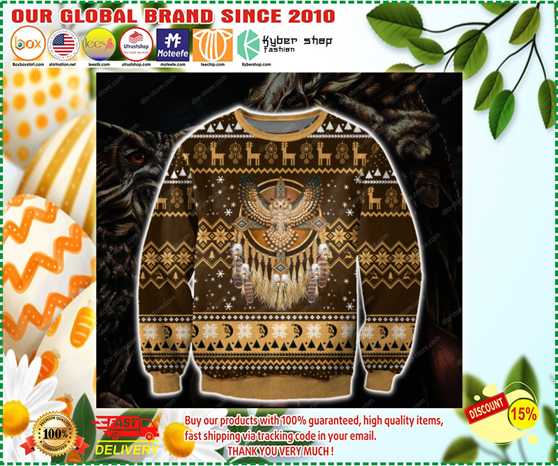 NATIVE AMERICAN OWL UGLY CHRISTMAS SWEATER - LIMITED EDITION BBS