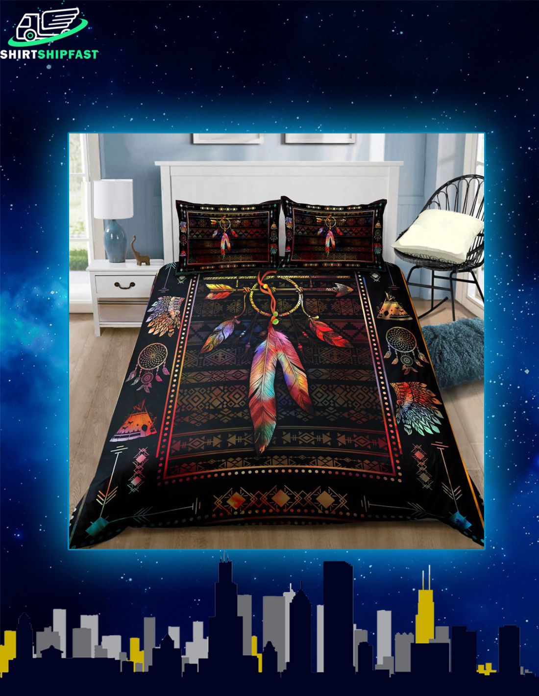 Native american feather bedding set