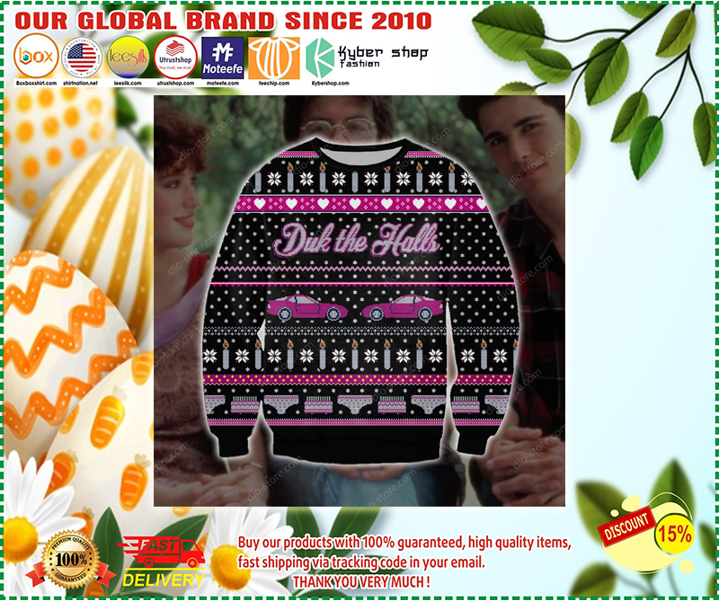 PINK CARS DRINK THE HALLS UGLY CHRISTMAS SWEATER - LIMITED EDITION BBS