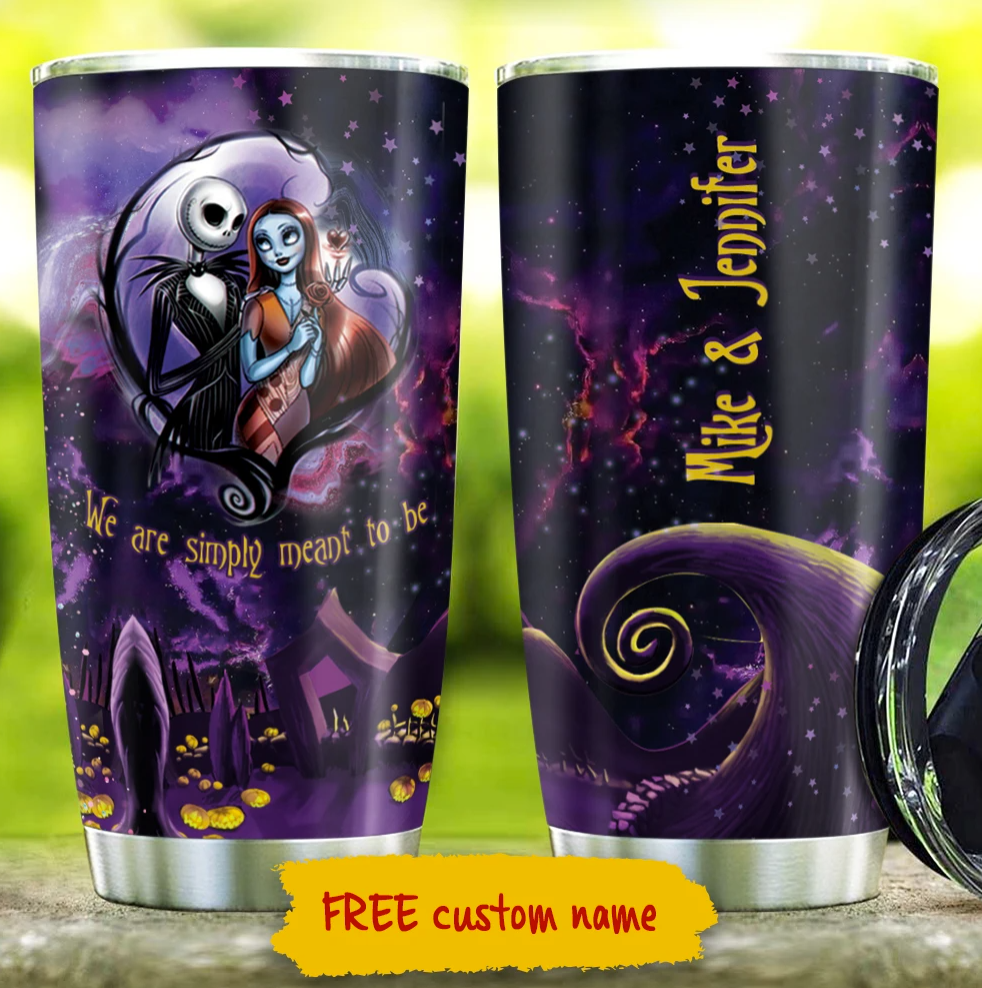 Personalized Jack Skellington and Sally we are simply meant to be tumbler 1