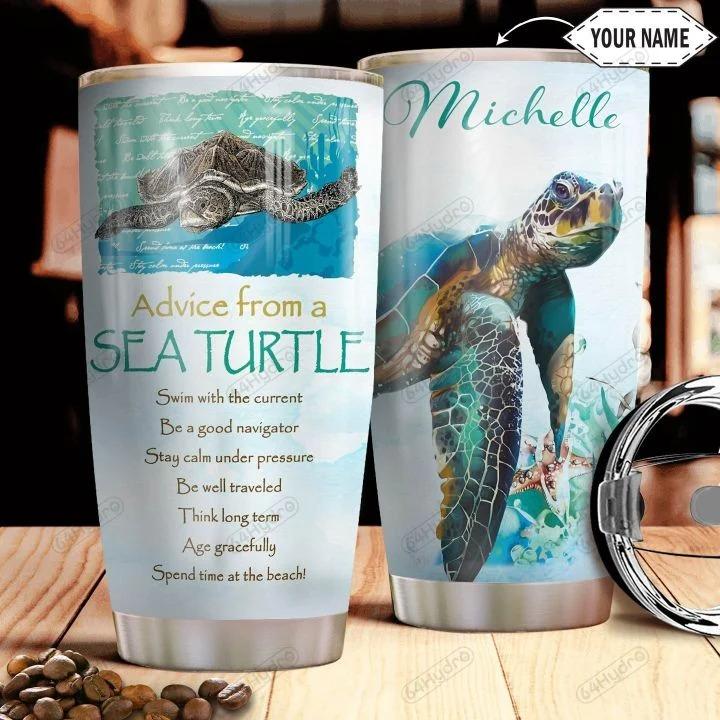 Personalized custom name advice from a sea turtle tumbler