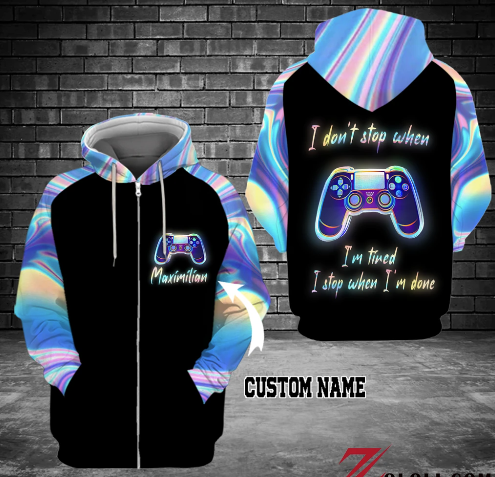 Personalized gamepad i don't stop when i'm tired i stop when i'm done all over printed 3D hoodie - dnstyles