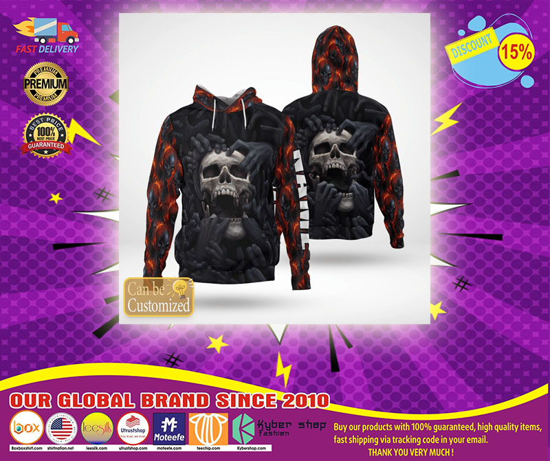 Screaming skull custom personalized name 3d hoodie - LIMITED EDITION