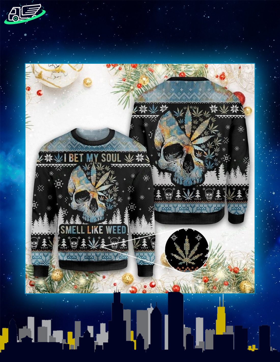 Skull I bet my soul smells like weed ugly christmas sweater