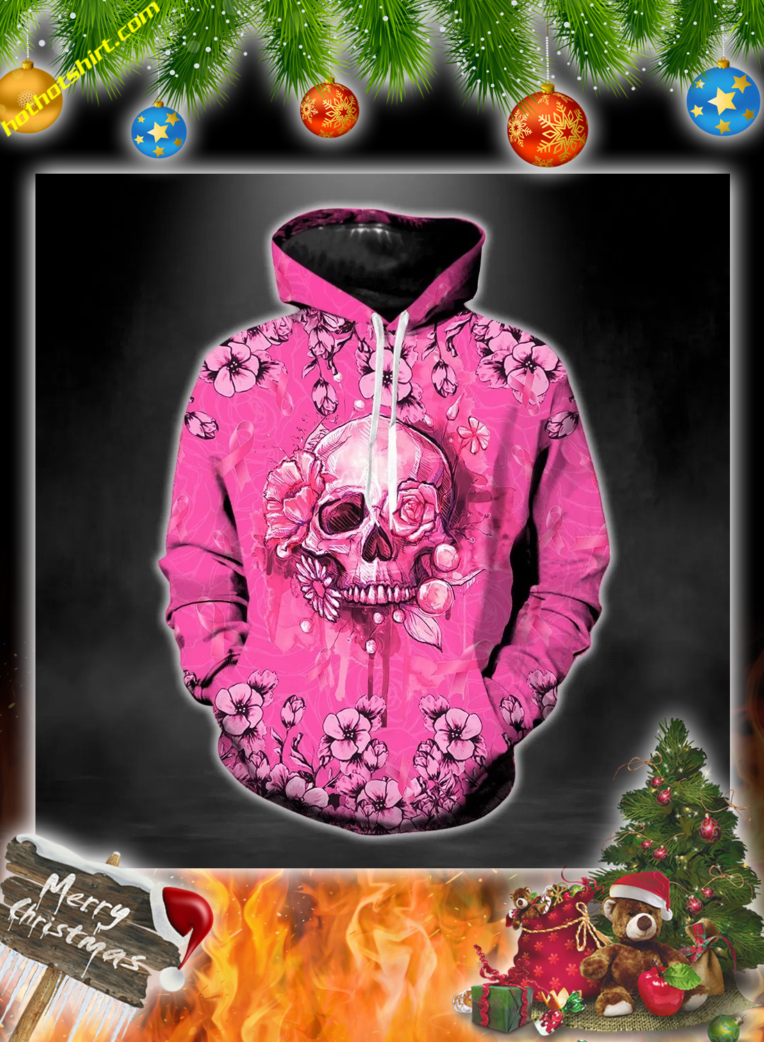 Skull breast cancer warrior 3d hoodie, legging and hollow tank top 1