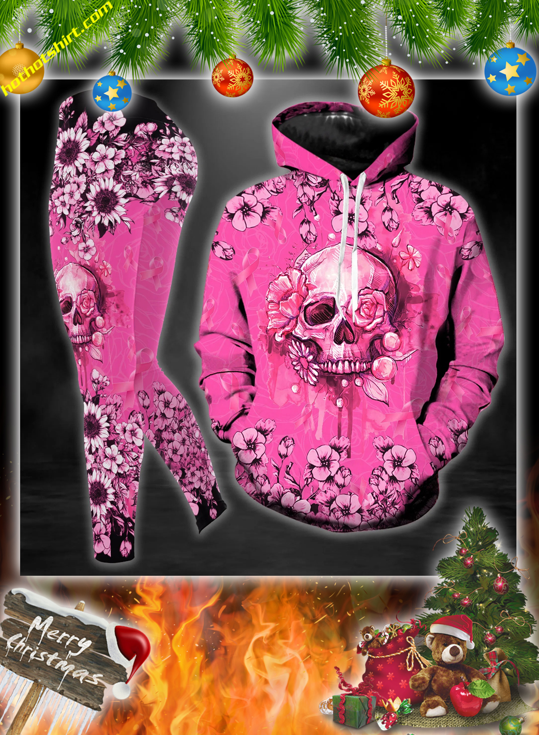 Skull breast cancer warrior 3d hoodie, legging and hollow tank top