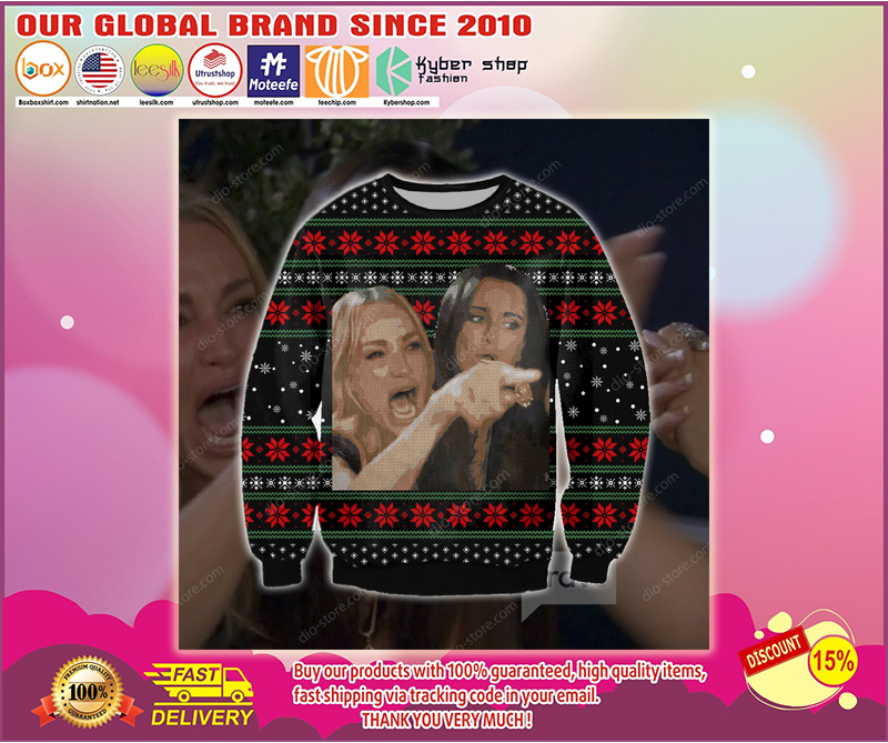 WOMAN YELLING AT A CAT UGLY CHRISTMAS SWEATER - LIMITED EDITION BBS