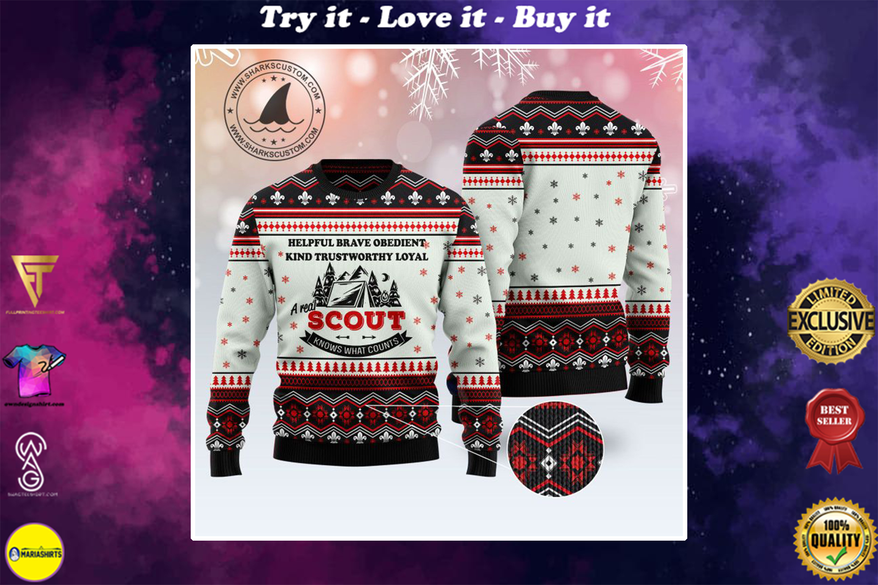 [special edition] a real scout knows what counts all over printed ugly christmas sweater - maria