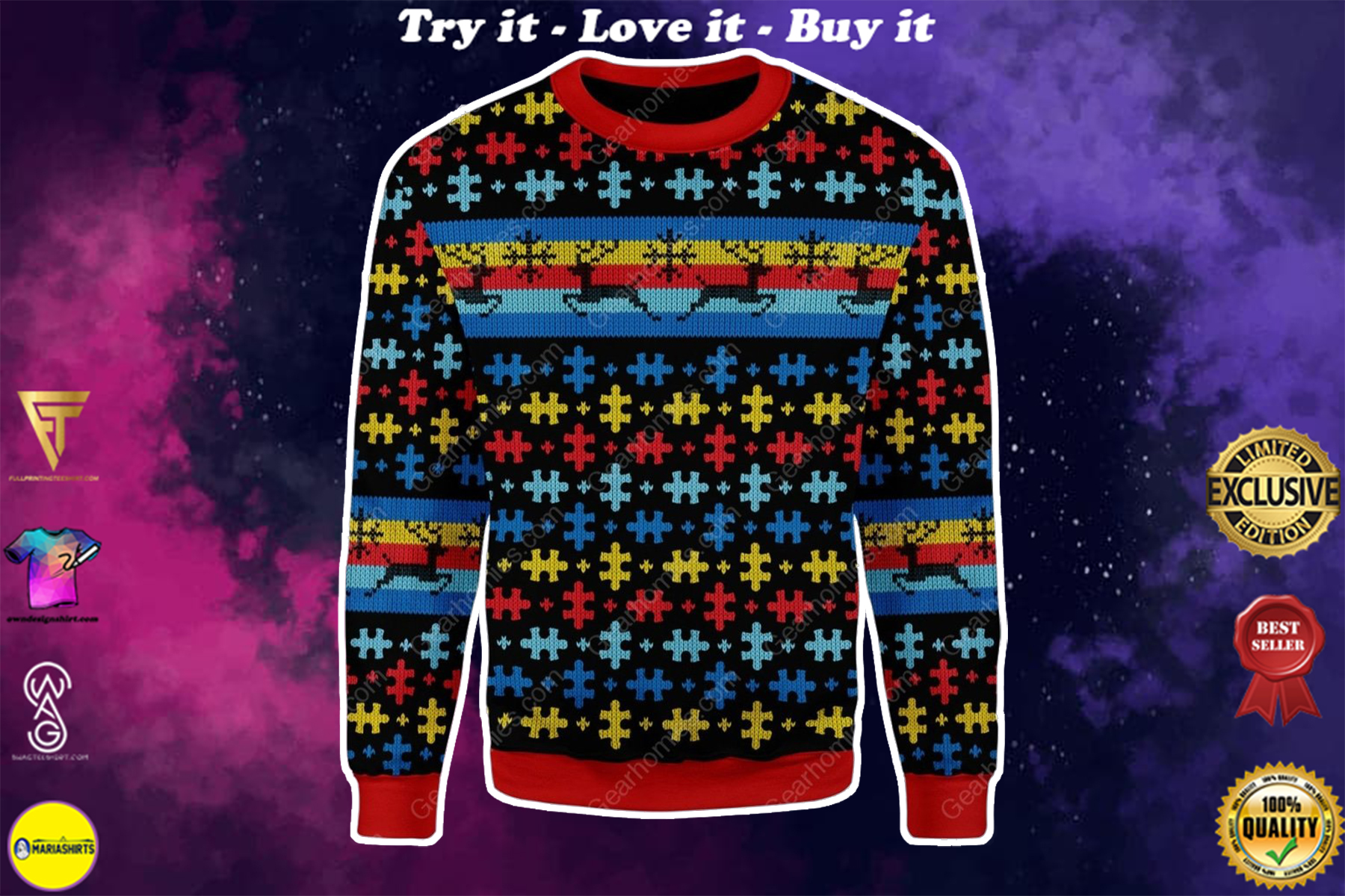[special edition] autism awareness reindeer all over printed ugly christmas sweater - maria