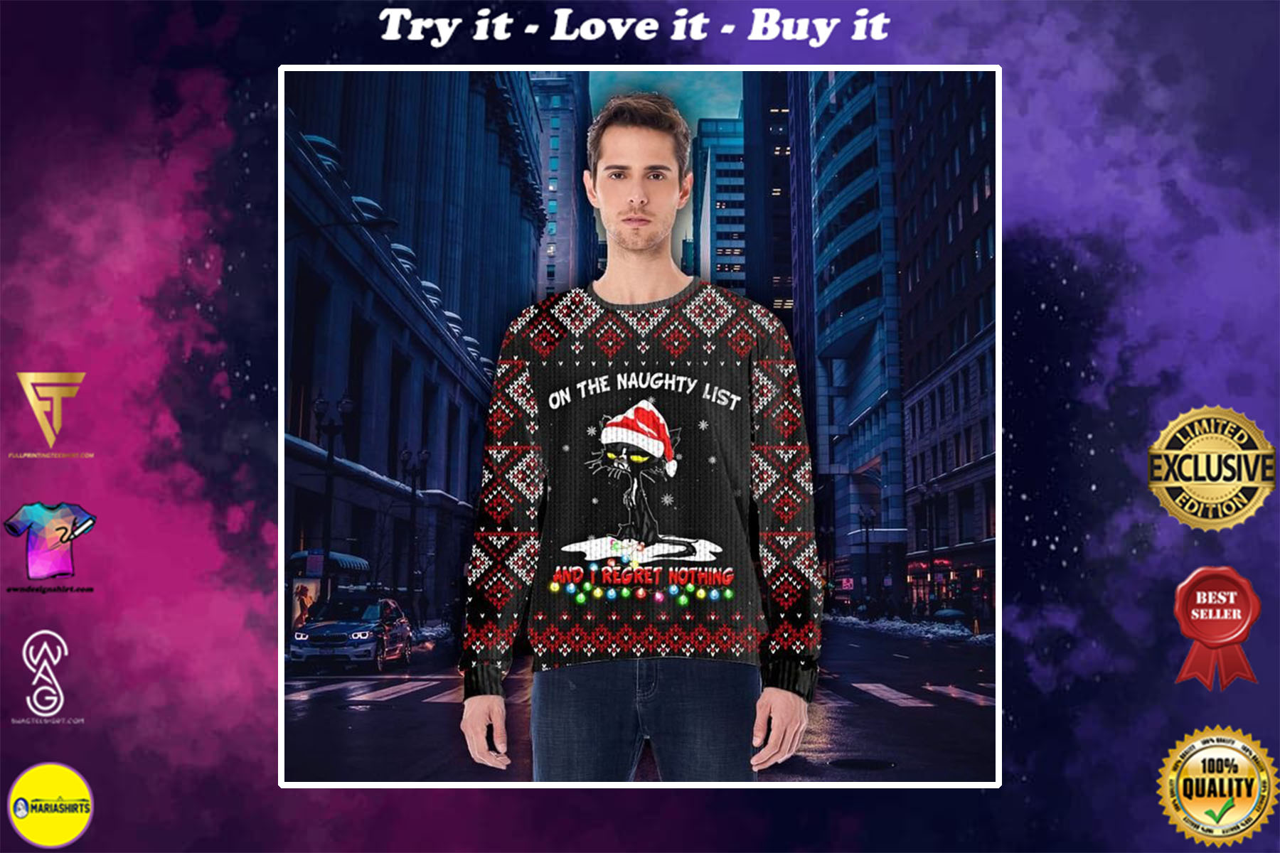 [special edition] black cat on the naughty list and i regret no thing all over printed ugly christmas sweater - maria