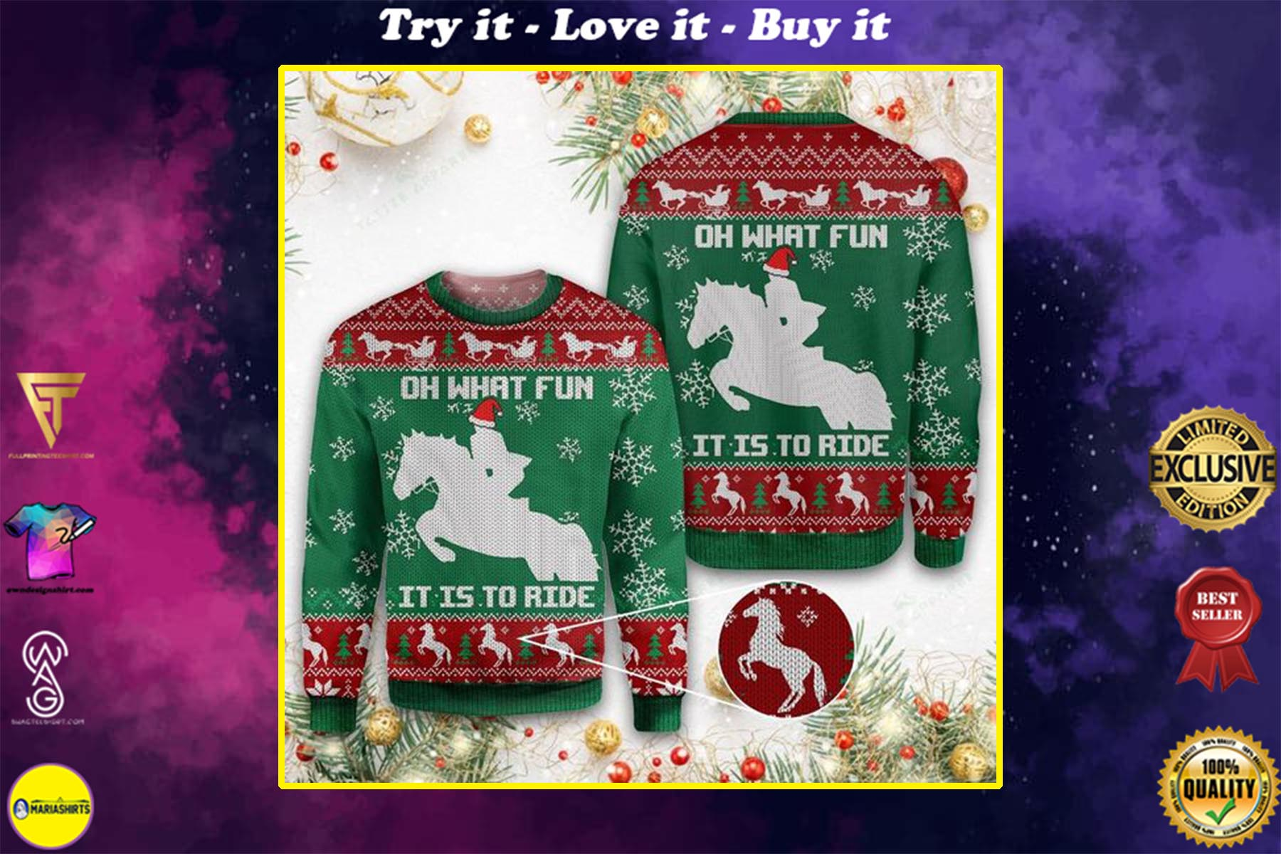 [special edition] christmas horse oh what fun it is to ride all over printed ugly christmas sweater - maria