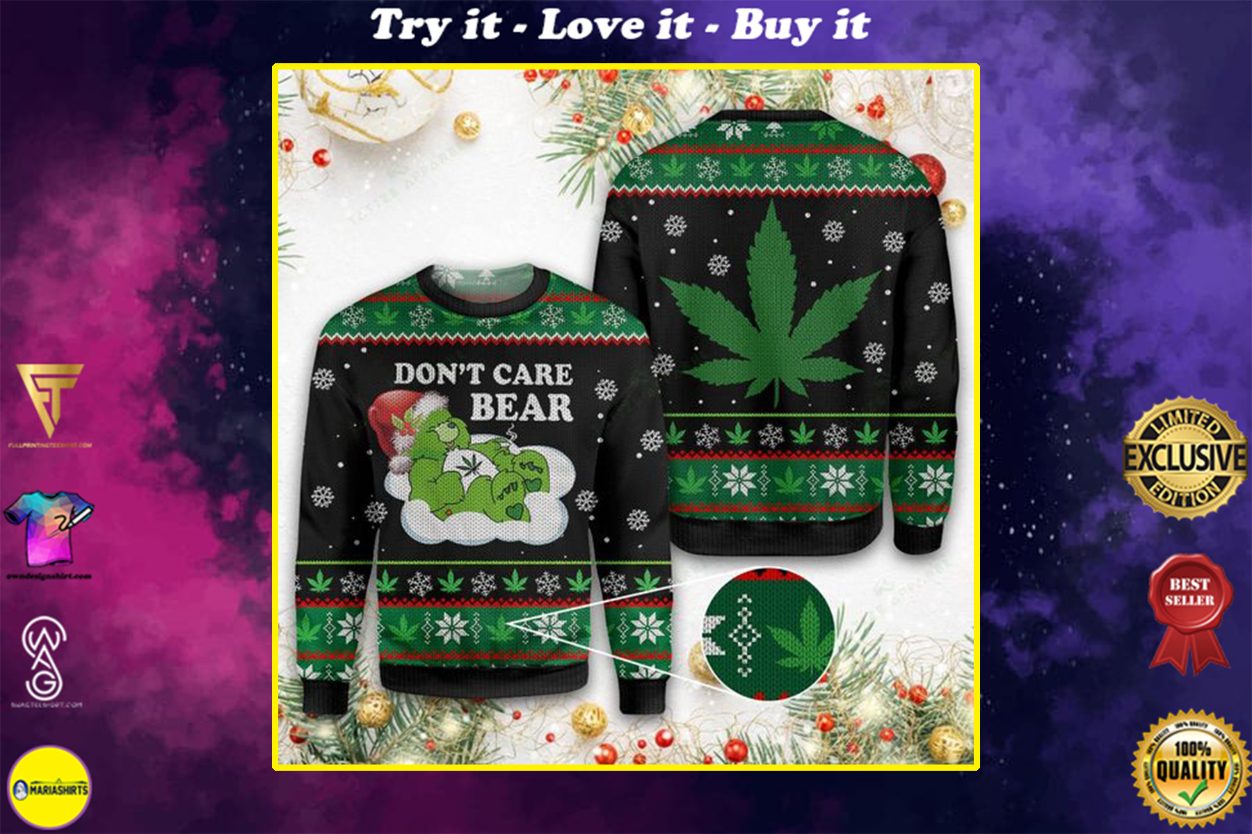 [special edition] christmas weed dont care bear all over printed ugly christmas sweater - maria