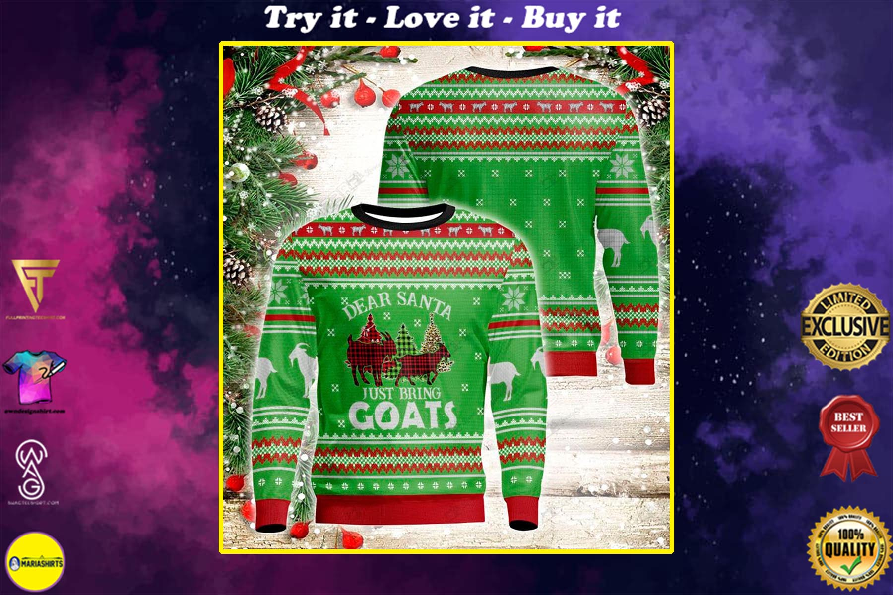 [special edition] dear santa just bring goats all over printed ugly christmas sweater - maria