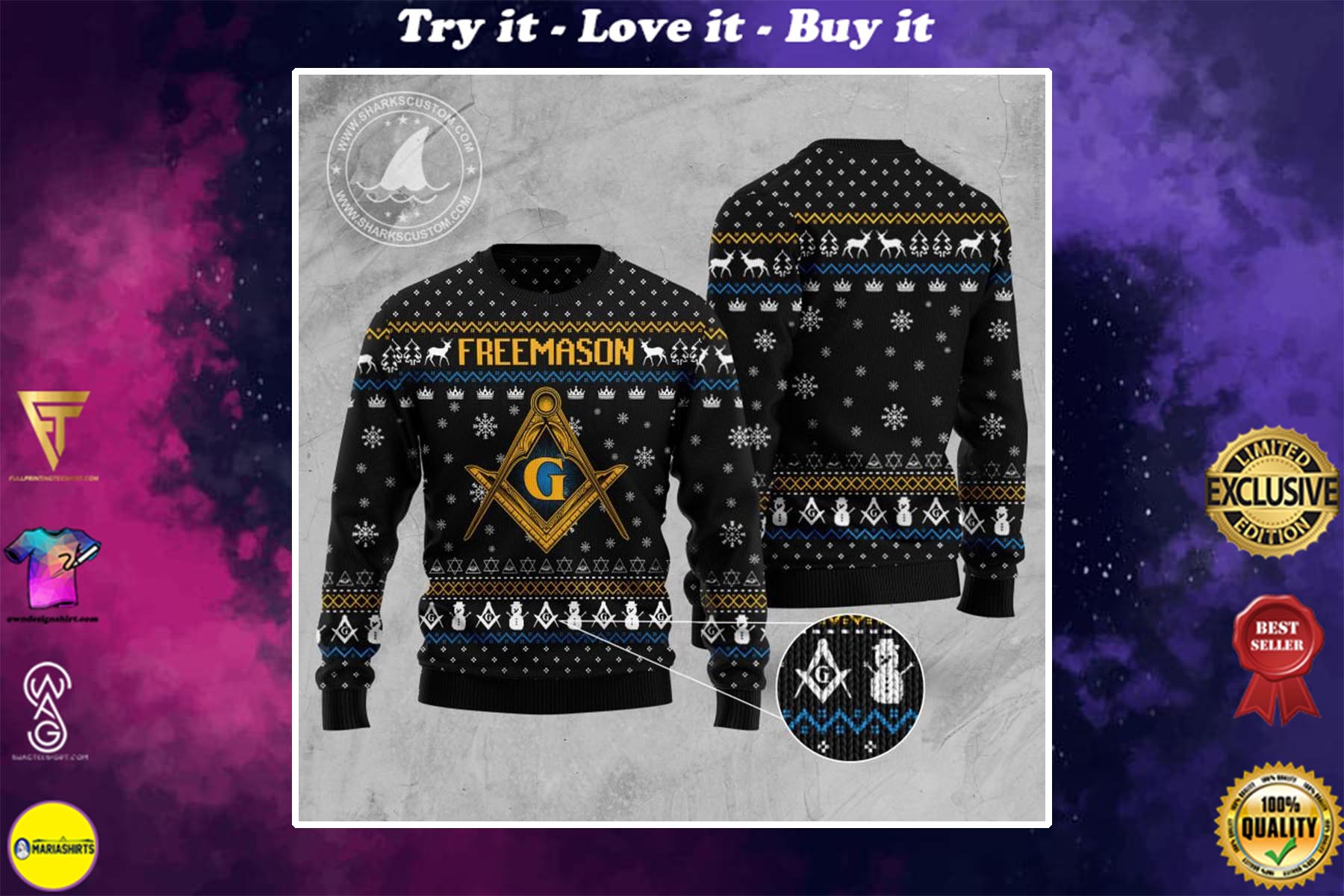 [special edition] freemasonry all over printed ugly christmas sweater - maria