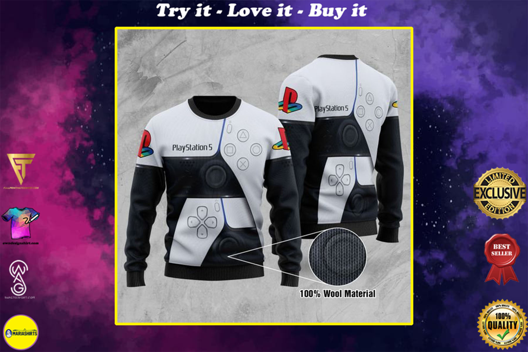 [special edition] game play station 5 all over printed ugly christmas sweater - maria