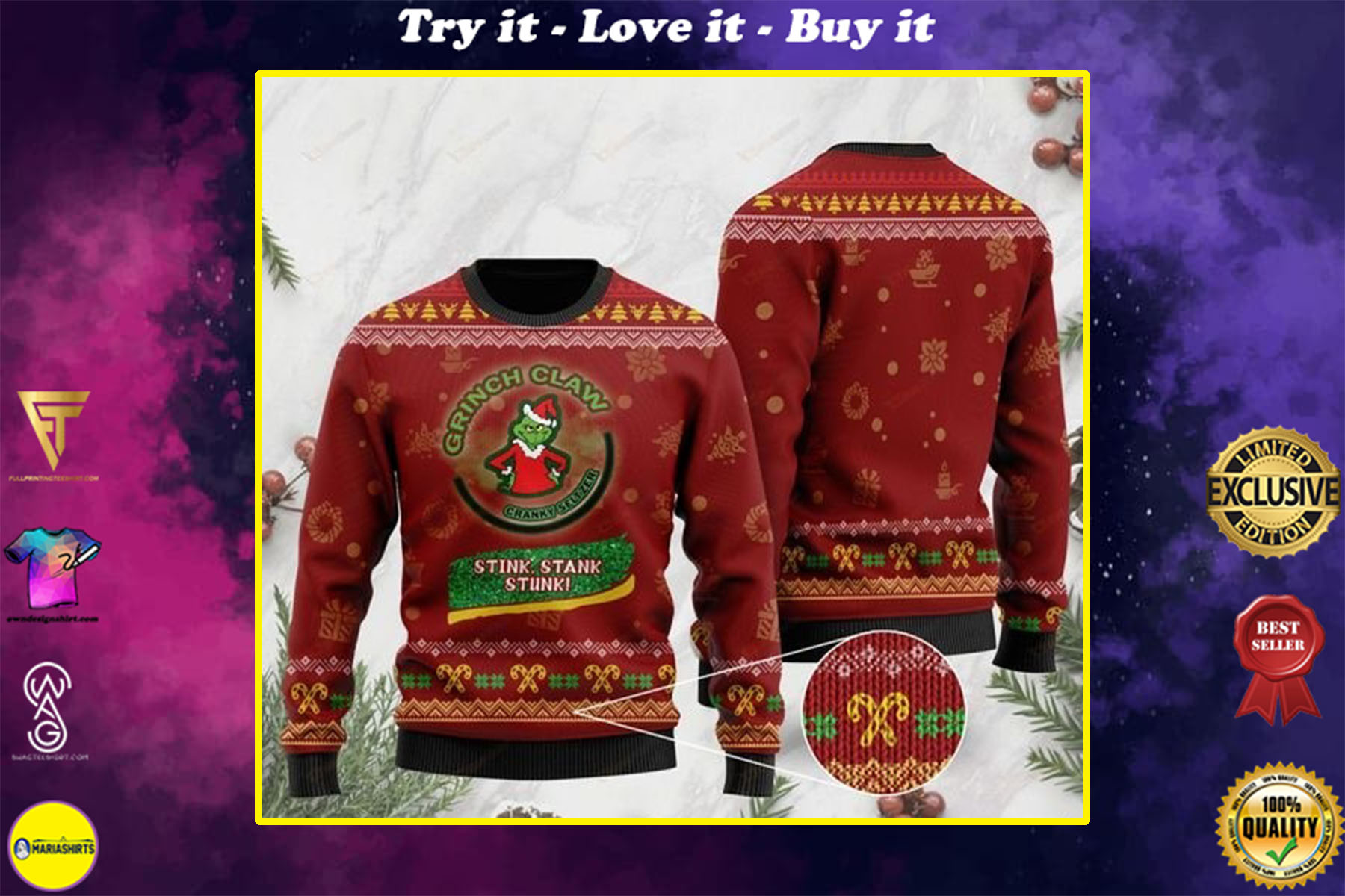 [special edition] grinch claw cranky seltzer stink stank stunk all over printed ugly christmas sweater - maria