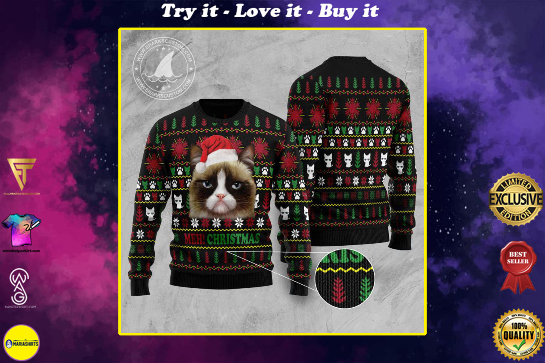 [special edition] grumpy cat meh christmas all over printed ugly christmas sweater - maria