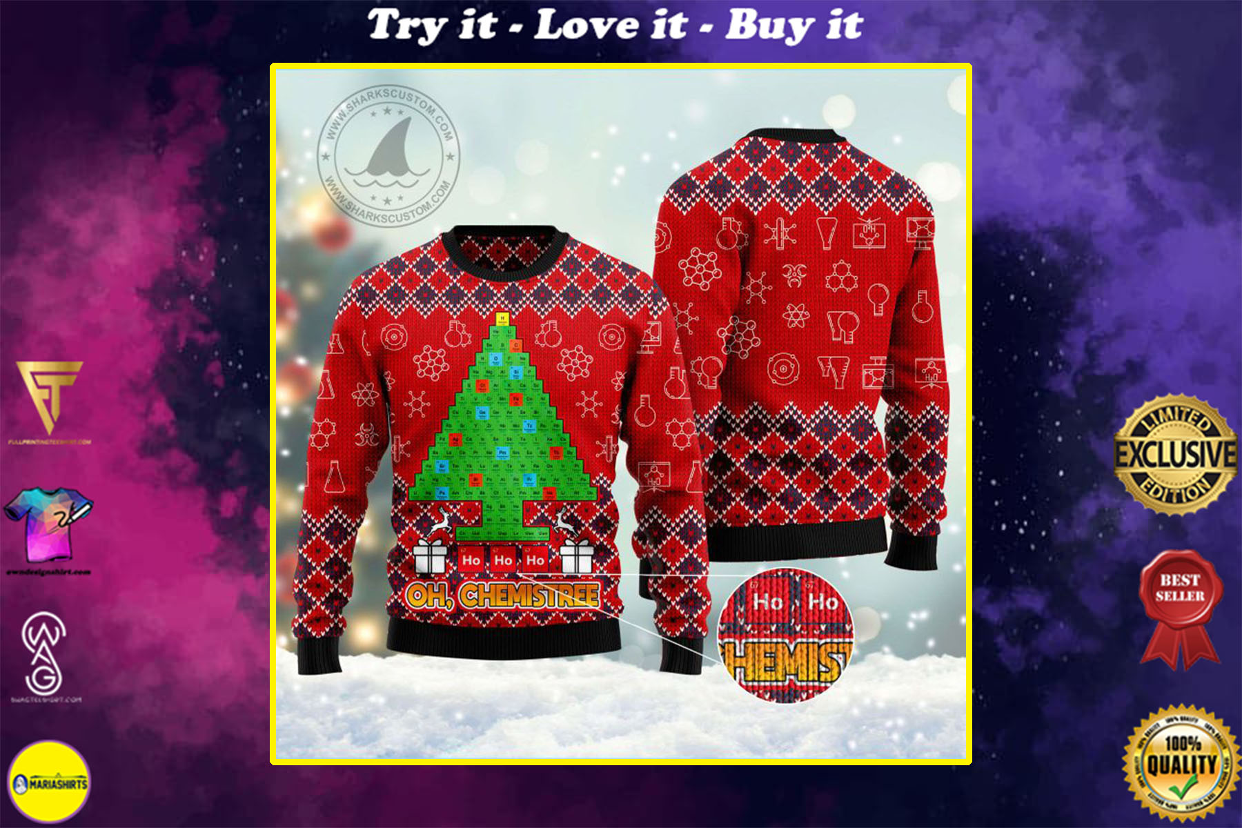 [special edition] ho ho ho oh chemistree all over printed ugly christmas sweater - maria