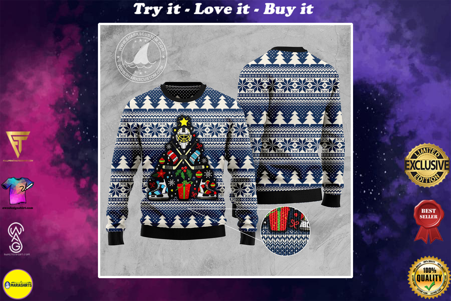 [special edition] hockey christmas tree all over printed ugly christmas sweater - maria