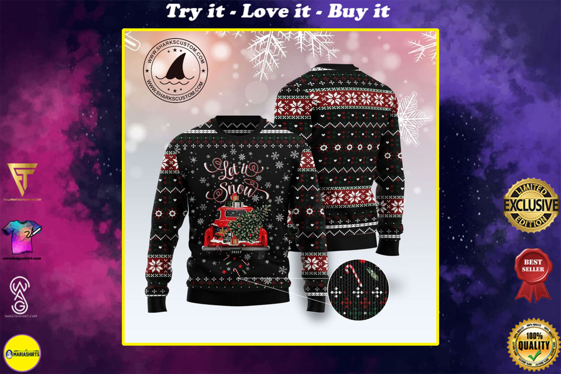 [special edition] let it snow red truck all over printed ugly christmas sweater - maria