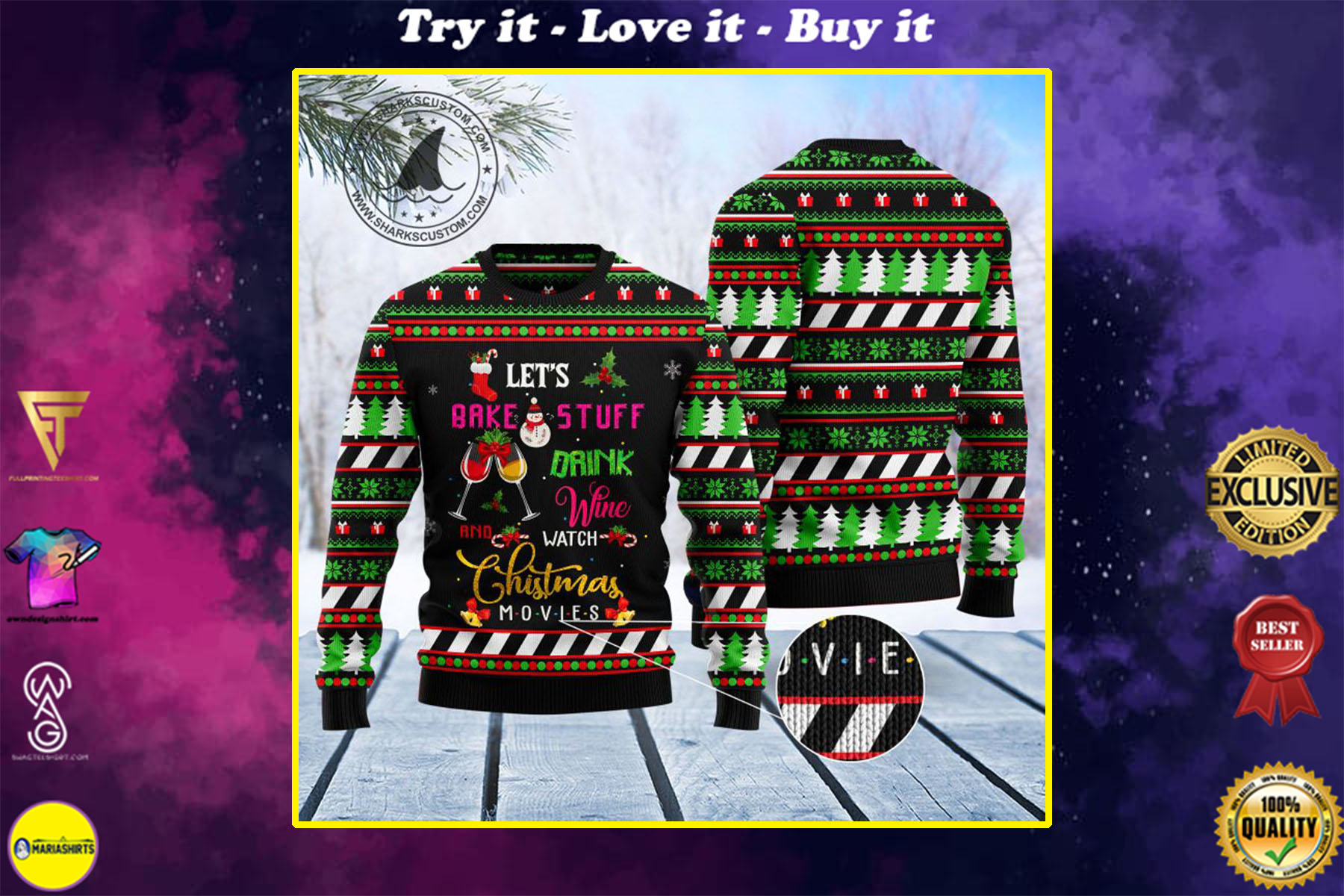 [special edition] lets bake stuff and watch hallmark movies all over printed ugly christmas sweater - maria