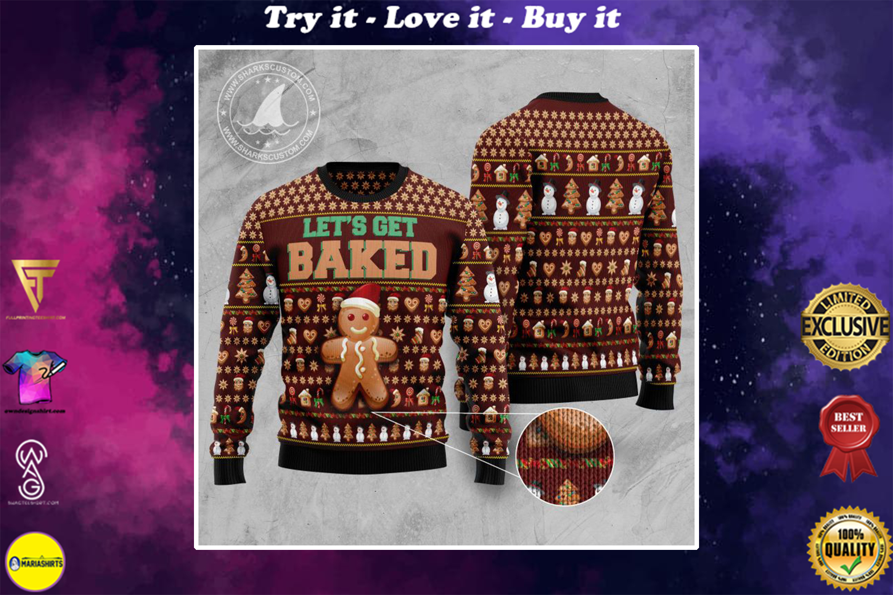 [special edition] lets get baked all over printed ugly christmas sweater - maria
