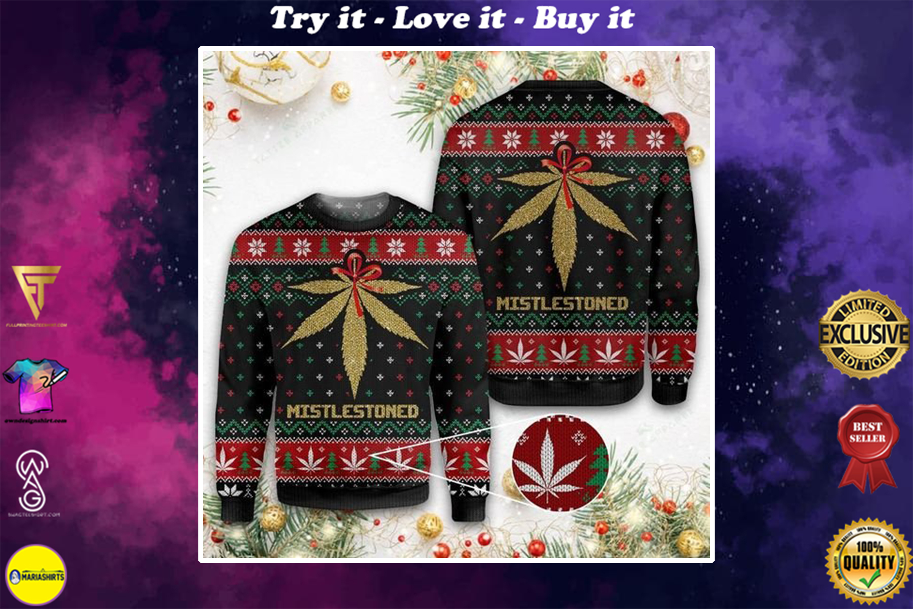 [special edition] merry christmas weed mistlestoned all over printed ugly christmas sweater - maria
